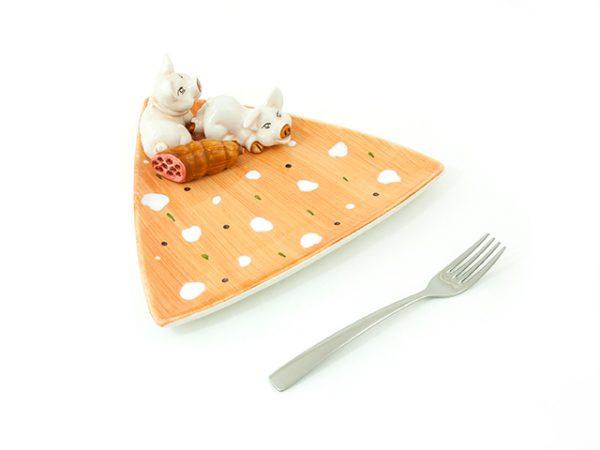 piatto-triangolare-ceramica-maialino